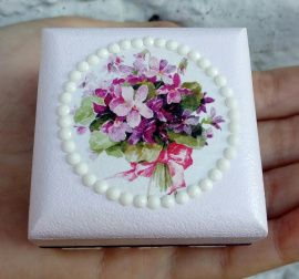 Коробочка для колец Сиреневый букет - подарок ручной работы на свадьбу Беларусь.