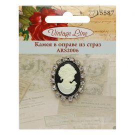 Камея в оправе из страз, 3.5*2.5см Vintage Line, ARS2006 Беларусь.