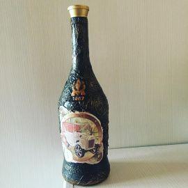 Оформление бутылки Ретро - подарок ручной работы на свадьбу Беларусь.