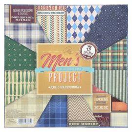 """Набор бумаги для скрапбукинга """"Men's project"""" 12 листов 29.5*29.5см 180гр/м, 1197863 Россия."""