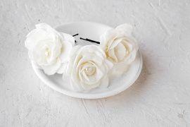 Шпильки в причёску 3шт Белые розы с жемчугом в Stranamasterov.by Беларусь.