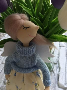 Текстильная кукла Синеглазый ангел в Stranamasterov.by Беларусь.