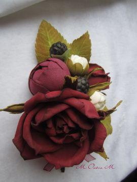 Бутоньерка Бордо-марсал - подарок ручной работы на свадьбу Беларусь.