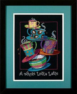 """Вышивка, """"Полные кружки с кофе-латте"""", 28*36см, 35218-DMS, DIMENSIONS Россия."""