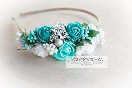 Ободок на один бок Мятные и бирюзовые цветы в Stranamasterov.by Беларусь.