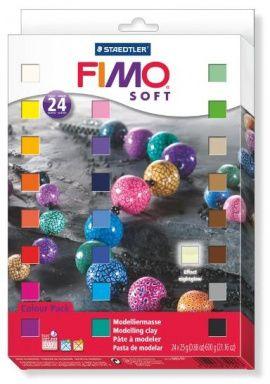 Набор полимерной глины SOFT 24 цвета по 25гр 8023-02, FIMO Россия.