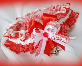 Подвязка Алая кайма 2 - подарок ручной работы на свадьбу Беларусь.