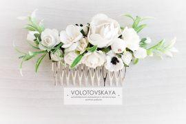 Гребень Белые цветы в Stranamasterov.by Беларусь.