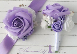 Бутоньрка для свидетелей Сирень - подарок ручной работы на свадьбу Беларусь.