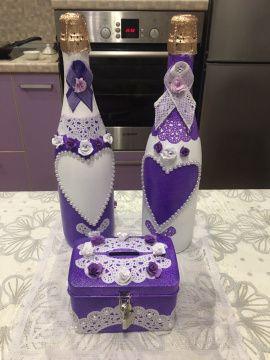 Оформление бутылки Фиолетовая - подарок ручной работы на свадьбу Беларусь.