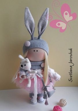 Кукла интерьерная Кроха зайка в серо-розовом в Stranamasterov.by Беларусь.