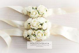 Браслет на ленте Цветочный - подарок ручной работы на свадьбу Беларусь.