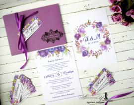 Приглашение в конверте Акварель - подарок ручной работы на свадьбу Беларусь.
