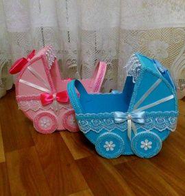 Коляски Мальчик и девочка - подарок ручной работы на свадьбу Беларусь.