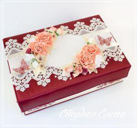 Свадебная казна/шкатулка Для надела Цвет марсала - подарок ручной работы на свадьбу Беларусь.