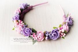 Ободок цветочный Розовые и фиолетовые розы в Stranamasterov.by Беларусь.