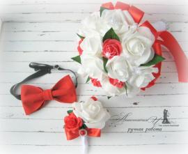 Свадебный набор Красный - подарок ручной работы на свадьбу Беларусь.