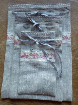 Мешочки льняные набор Для подарков - подарок ручной работы на свадьбу Беларусь.