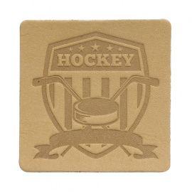 Термоаппликация квадрат хоккей 5*5см дизайн №9, 100% кожа бежевый Россия.