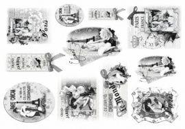 """Декупажная бумага рисовая """"Ретро Париж"""", плотность 25г/кв.м, 35*50см, QSIPR262, RENKALIK Россия."""