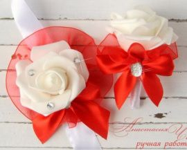 Бутоньерка для свидетелей Красная - подарок ручной работы на свадьбу Россия.