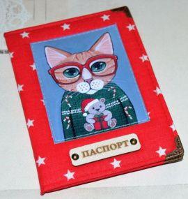 Обложка на паспорт Кот в красных очках в Stranamasterov.by Россия.