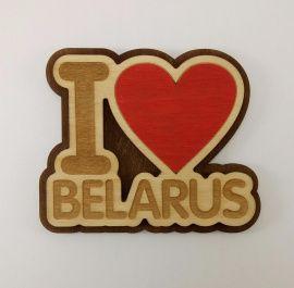 Магнит I Love Belarus двуслойный в Stranamasterov.by Россия.