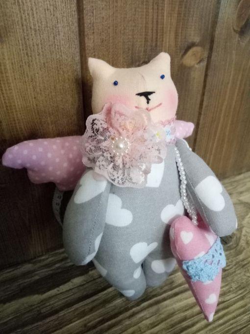 Текстильная игрушка Котик-ангелочек в сердечк в Stranamasterov.by