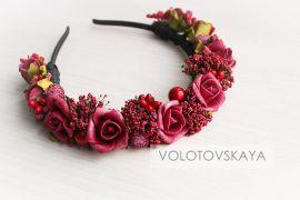 Ободок цветочный Розы марсала в Stranamasterov.by Беларусь.