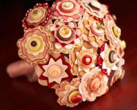 Букет из фетра и пуговиц Брусника в карамели - подарок ручной работы на свадьбу Беларусь.