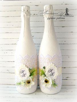 Свадебное шампанское Рамка - подарок ручной работы на свадьбу Беларусь.