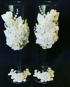 Бокалы Свадебные 2 бокала - подарок ручной работы на свадьбу Беларусь.