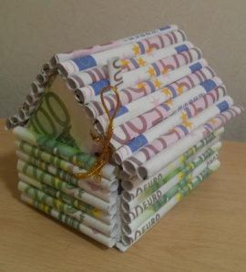 Домик для денег Еврик - подарок ручной работы на свадьбу Россия.