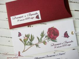 Приглашение В конверте - подарок ручной работы на свадьбу Беларусь.