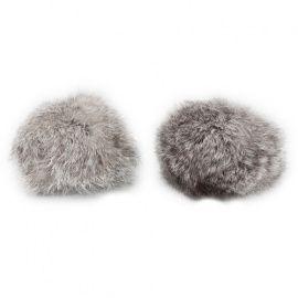 Помпон из натурального меха, кролик, 8см, упаковка 2шт, A бело-серый Россия.