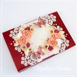 Свадебная книга пожеланий Цвет марсала - подарок ручной работы на свадьбу Беларусь.