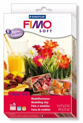 Набор полимерной глины SOFT Горячие цвета 8023-03 6 цветов по 57гр, FIMO Россия.