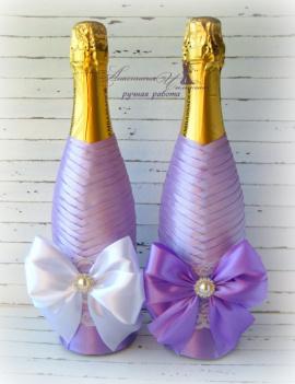 Свадебное шампанское Сирень - подарок ручной работы на свадьбу Беларусь.