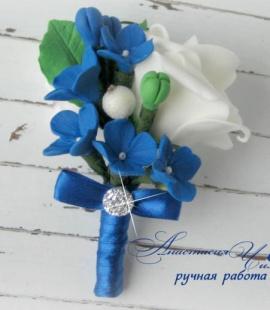 Бутоньерка для жениха Грация - подарок ручной работы на свадьбу Беларусь.