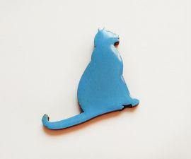Брошь деревянная Голубая кошка в Stranamasterov.by Беларусь.