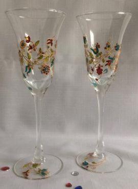 Фужеры с ручной росписью Цветочный орнамент - подарок ручной работы на свадьбу Беларусь.