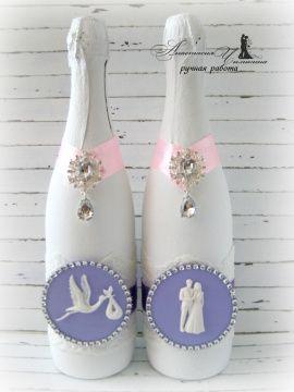 Свадебное шампанское Пионы - подарок ручной работы на свадьбу Беларусь.
