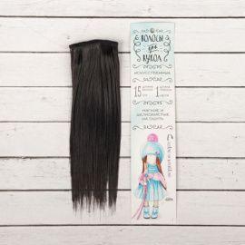 """Трессы для кукол """"Прямые"""" длина волос 15см, ширина 100см, цвет № 1В, 2294878 Россия."""