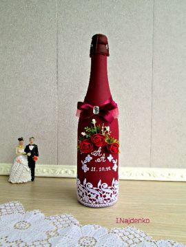 Оформление Свадебное шампанское - подарок ручной работы на свадьбу Беларусь.