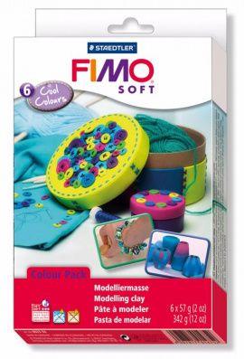 Набор полимерной глины SOFT Холодные цвета 8023-04 6 цветов по 57гр, FIMO Россия.
