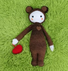 Вязаная игрушка Кукла в костюме мишки в Stranamasterov.by Беларусь.