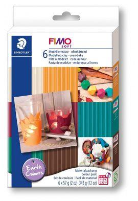 Набор полимерной глины SOFT Цвета земли 8023-07 6 цветов по 57гр, FIMO Россия.