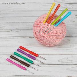 Набор крючков для вязания с силиконовой ручкой, d = 2-6мм, 14см, 9шт, цвет МИКС Россия.