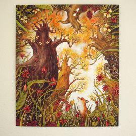 Картина на дереве 90х76см Лис и бельчонок в Stranamasterov.by Беларусь.