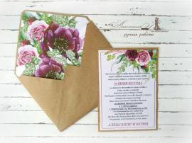 Приглашение Нежность - подарок ручной работы на свадьбу Беларусь.